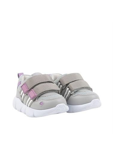Kids A More Leona Çift Cırtlı Deri Ve Air File Detaylı Kız Çocuk Sneaker  Gri